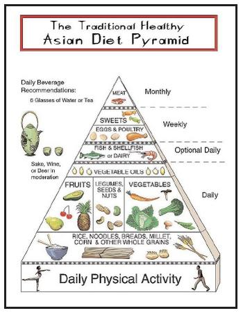 ... food pyramid. The Asian diet does not include much meat or dairy and